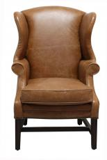 Block & Chisel brown leather wingback chair