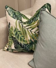 tropical green leaf scatter cushion