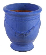 Block & Chisel terracotta pot with blue glaze