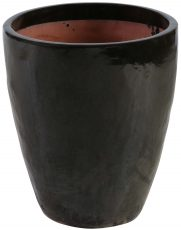 Block & Chisel terracotta pot with black glaze