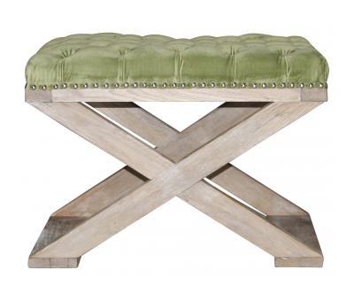Block & Chisel green velvet upholstered stool with crossed brushed oak wooden legs
