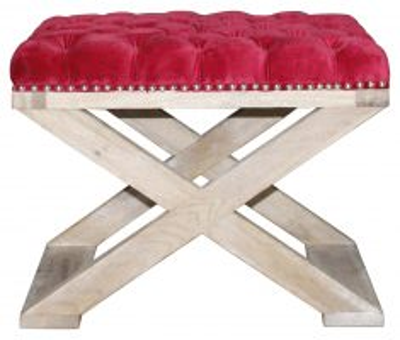 Block & Chisel red velvet upholstered stool with crossed brushed oak wooden legs