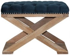 Block & Chisel blue velvet upholstered stool with crossed brushed oak wooden legs