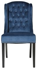 Block & Chisel blue velvet upholstered button tufted french wingback dining chair