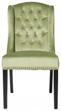 Block & Chisel green velvet upholstered button tufted french wingback dining chair