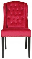 Block & Chisel red velvet upholstered button tufted french wingback dining chair