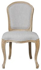 Block & Chisel grey upholstered dining chair with oak wooden frame