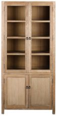 Block & Chisel solid oak display cabinet with glass top doors