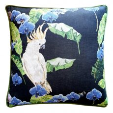 Block & Chisel parrot in tree cushion blue navy green leaf
