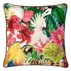 Block & Chisel Cushion parrot bird jungle green pink