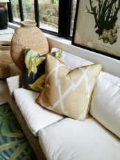 Block & Chisel geometric design cushion in warm yellow oatmeal