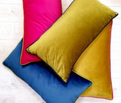 Block & Chisel green velvet oblong cushion