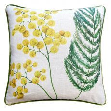 Yellow flower and green acacia print cushion front