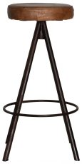 Block & Chisel brown goat leather upholstered barstool with iron legs