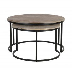 metal and wood nest of tables