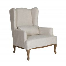 Cream wingback chair with wooden legs