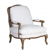 Classic white cushioned armchair with cabriole legs
