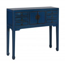 dark blue lacquered chinese console