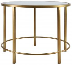 Block & Chisel round mild steel side table with glass mirror top