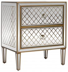 Block & Chisel mirrored 2 draw bedside table