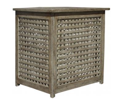 Block & Chisel square teak wood laundry box