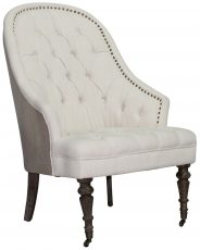 Block & Chisel cream upholstered button tufted occasional chair