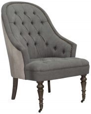 Block & Chisel grey upholstered button tufted occasional chair