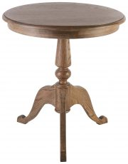 Block & Chisel round lamp table in solid antique weathered oak