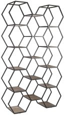 Block & Chisel recycled elm hexagonal bookshelf with iron frame