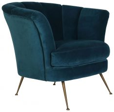 Block & Chisel blue velvet upholstered fan back club chair with copper legs
