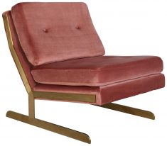 Block & Chisel pink velvet upholstered club chair with steel copper legs
