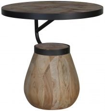 Block & Chisel round side table with drum base