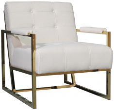 Block & Chisel cream upholstered velvet occasional chair with stainless steel legs