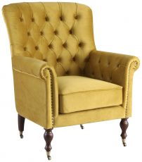 Block & Chisel gold upholstered occasional chair on castors