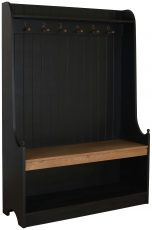 Block & Chisel matt black coat stand with weathered oak seat