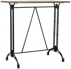 Block & Chisel oblong bar café table with black iron base
