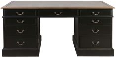 Block & Chisel antique weathered oak pedestal desk with matt black finish