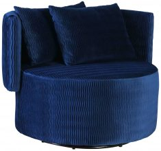 Block & Chisel blue upholstered occasional chair with scatter cushions
