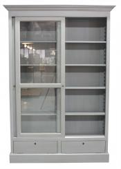 Block & Chisel Chimney Sweep Grey glass fronted bookcase