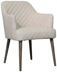 Block & Chisel cream linen upholstered carver dining chair with oak wood legs