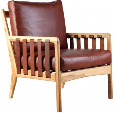 Block & Chisel bovine leather armchair with teak wood frame