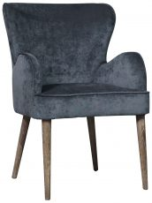 Block & Chisel charcoal linen upholstered carver dining chair with oak wood legs