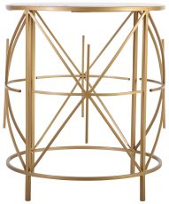Block & Chisel round marble top side table with metal base