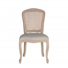 Rattan back French style dining chair with linen fabric seat