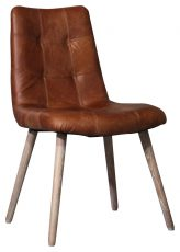 Block & Chisel Dining chair brown leather with ash wood legs