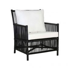 Block & Chisel black rattan armchair with white cushions
