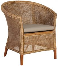 Block & Chisel rattan webbed tub chair with wooden legs