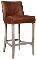 Block & Chisel Barstool with brown leather & Ash wood legs