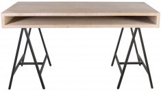 Block & Chisel wooden desk with black iron trestle legs