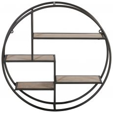 Block & Chisel round black iron 3 tier wall shelf with MDF shelves